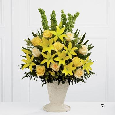 Yellow Lily and Rose Service Arrangement
