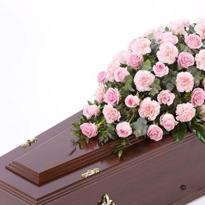 Rose and Carnation Casket Spray   Pink