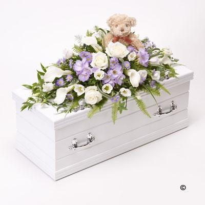 Children's Casket Spray with Teddy Bear   Blue and Lilac